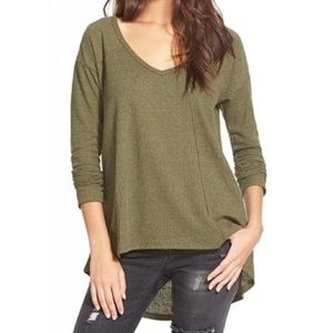 Sun & Shadow Olive Green V-Neck Thermal Knit Top